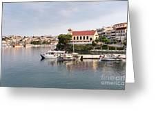 summer vacation scene Neos Marmaras Greece Greeting Card
