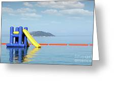 Summer Vacation Scene With Water Slide  Greeting Card