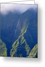 Summer Waterfall Behind Hanalei Bay Greeting Card