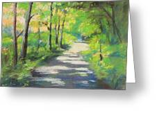 summer woods at Kenoza Lake Greeting Card by Leslie Alfred McGrath
