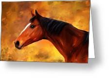 Summers End Quarter Horse Painting Greeting Card