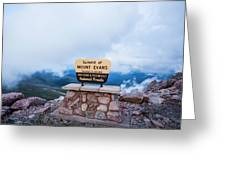 Summit Of Mount Evans Greeting Card