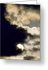Sun And Dark Clouds Greeting Card