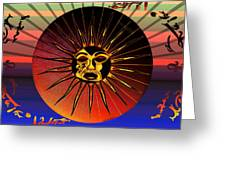 Sun Face Stylized Greeting Card by Robert  G Kernodle