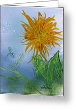 Sun Flower And Dragonflies  At Dusk Greeting Card
