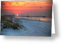 Sun Over Sea N Suds And Pier Large Greeting Card