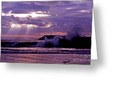 Sun Pokes Though Clouds By Stormy Sea Greeting Card