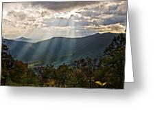 Sun Rays Linville Falls Nc Greeting Card