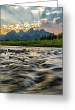 Sun Rays Over The Grand Tetons Greeting Card