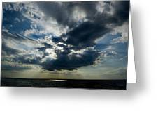 Sun Rays Through Clouds Form A Spot Greeting Card