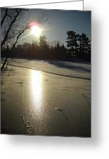 Sun Reflecting Off River Ice Greeting Card