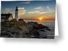 Sun Rising At Portland Head Light Greeting Card