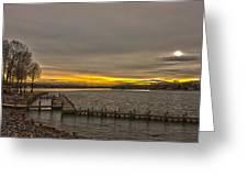Sun Set At The Lake Greeting Card