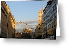Sun Sets On London Greeting Card