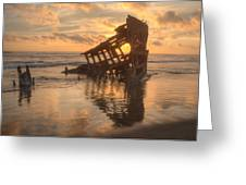 Sun Setting Behind Peter Iredale 0089 Greeting Card