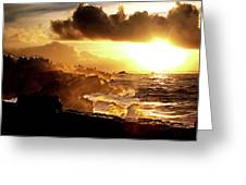 Sun Setting On The Pacific Greeting Card