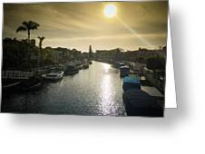 Sun Setting Over Canals Of Naples In Long Beach, Ca Greeting Card