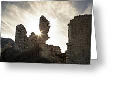 Sun Shining Through A Derelict Building At Occi In Corsica Greeting Card