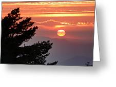 Sun Through The Clouds And Trees Sunset At The Mountains Greeting Card
