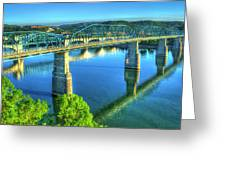 Sun Up Reflections Chattanooga Tennessee Greeting Card
