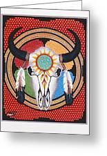 Sun Wheel Skull Greeting Card by Billie Bowles