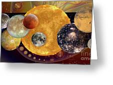 Sun With Planet Moons Greeting Card