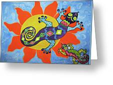 Sunbathing Lizards Greeting Card