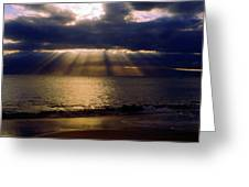 Sunbeams Radiating Through Clouds Before Sunset Greeting Card