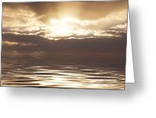 Sunburst Over Water Greeting Card