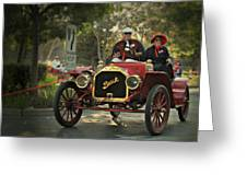 Sunday Drive In A 1910 Buick Greeting Card