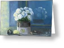 Sunday Morning And Roses - Blue Greeting Card