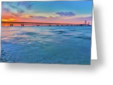Sundown At Mackinac Bridge Greeting Card