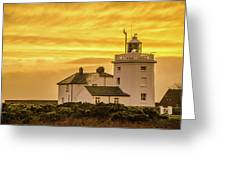 Sundown At The Lighthouse Greeting Card