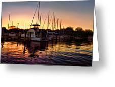 Sundown At The Marina 2 Greeting Card