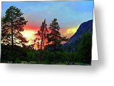 Sundown In Yellowstone Greeting Card