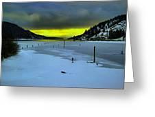 Sundown On Lake Shore Greeting Card