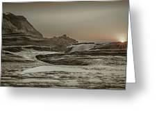 Sundown Over The Ocean Rocks Greeting Card