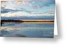 Sundown With Water On Ice Greeting Card