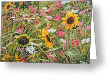 Sunflower And Cosmos Greeting Card