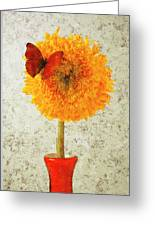 Sunflower And Red Butterfly Greeting Card