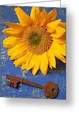 Sunflower And Skeleton Key Greeting Card by Garry Gay