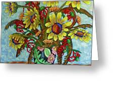Sunflower Bouquet With Butterfly Greeting Card