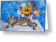 Sunflower Cat Greeting Card