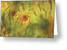 Sunflower In The Wind Painting Greeting Card