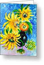 Sunflower On Black Vase Greeting Card