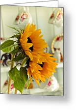 Sunflowers And Afternoon Tea Greeting Card