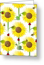 Sunflowers And Bees Greeting Card