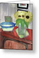 Sunflowers And Blue Bowls Greeting Card