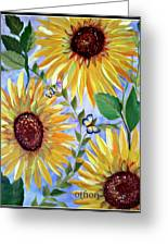 Sunflowers And Butterflies Greeting Card