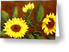 Sunflowers And Dewdrops Greeting Card